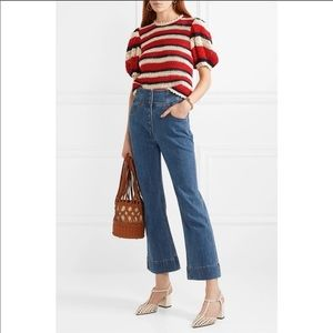 Ulla Johnson Ellis Cropped High Rise Flare Jeans NWT Size 6